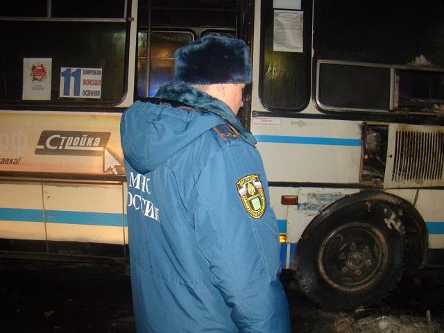 В центре Биробиджана вспыхнул пассажирский автобус
