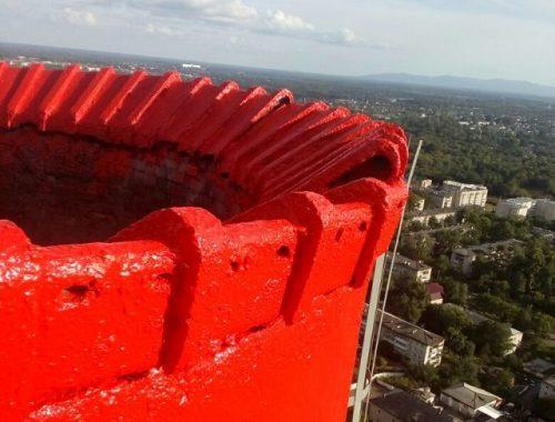 На Биробиджанской ТЭЦ ведется ремонт дымовой трубы