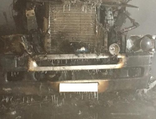 Грузовик вспыхнул в Биробиджане