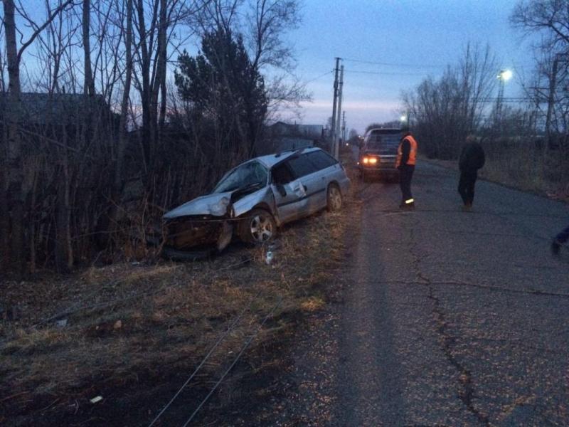 Пьяный водитель врезался в столб в селе Волочаевка-2