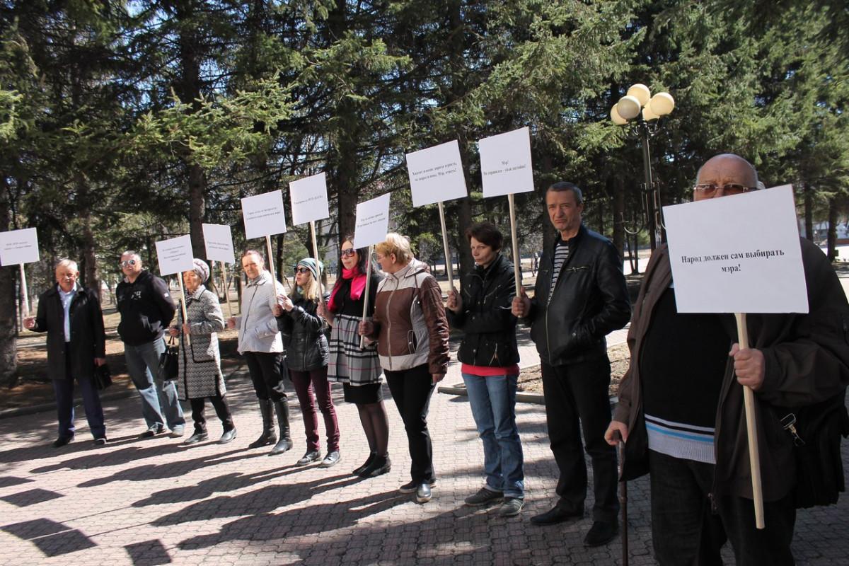 Участники пикета у мэрии Биробиджана потребовали отставки Евгения Коростелёва