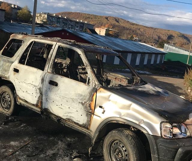 Побили ломом, порезали колеса и подожгли автомобиль неизвестные в г. Облучье