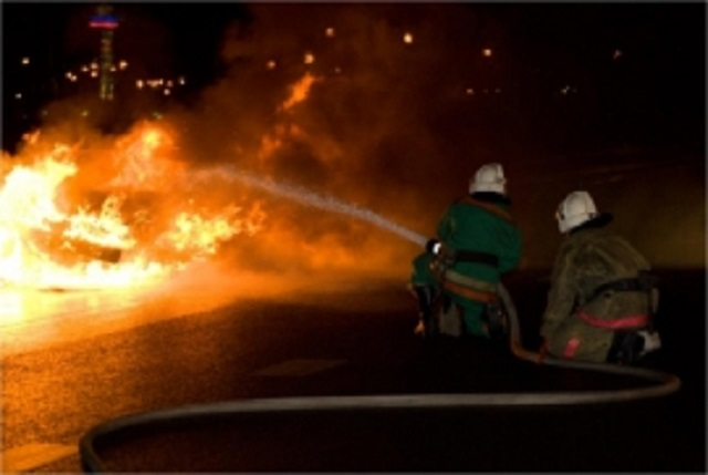 Из-за неисправных тормозных колодок сгорел автокран в ЕАО