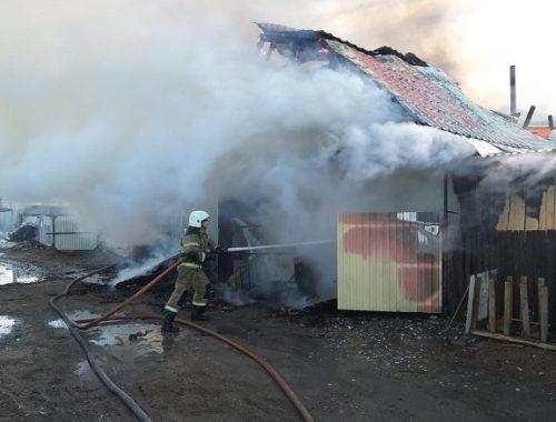 Пожар в Биробиджане едва не обернулся взрывом газовых баллонов