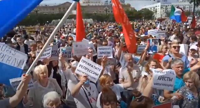 Хабаровчане седьмую субботу подряд вышли на митинг протеста