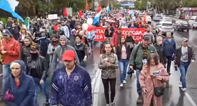 В Хабаровске прошла одиннадцатая субботняя акция протеста
