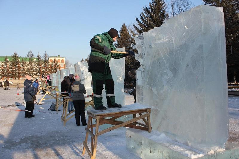 Конкурс ледовых скульптур стартовал в Биробиджане