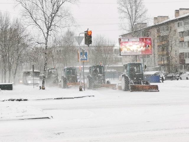 Биробиджан засыпает снегом, на улицах работает спецтехника
