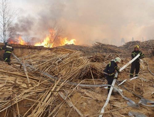 Огнеборцы свыше 17 часов борются с крупным пожаром в Биробиджане